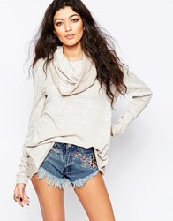 Free People Cocoon Cowl Neck Jumper White