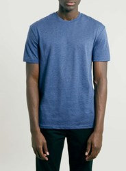 Topman Navy Marl Crew Neck T Shirt Blue