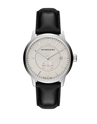 Burberry Ladies Stainless Steel Leather Strap Watch Black