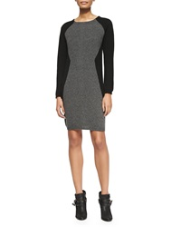 Neiman Marcus Colorblock Cashmere Long Sleeve Dress X