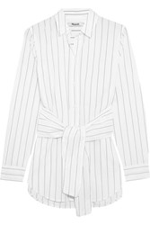 Madewell Tie Front Pinstriped Cotton Shirt White