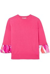 Emilio Pucci Printed Silk Trimmed Wool Sweater Pink