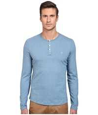 Original Penguin Feeder Stripe Henley Agean Blue Men's Long Sleeve Pullover
