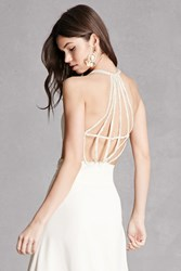 Forever 21 Lilibet Strappy Beaded Gown White