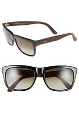 Men's Salvatore Ferragamo 56Mm Retro Sunglasses Black Brown Gradient