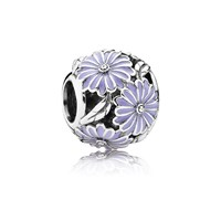 Pandora Design Daisy Silver Charm With Lavender Enamel