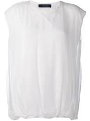 Federica Tosi Gathered Hem T Shirt Women Silk Spandex Elastane Modal 42 White