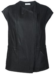 Vince Perforated Cap Sleeve Vest Black