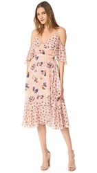 Tanya Taylor Textured Silk Abstract Floral Amylia Dress Rose Multi