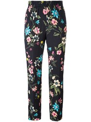 Incotex Floral Print Cropped Trousers Black
