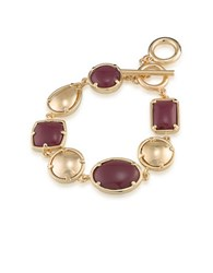 1St And Gorgeous Multi Shape Flex Toggle Bracelet Garnet Gold Garnet And Gold