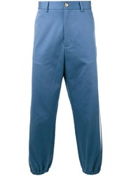 Gucci Cropped Side Stripe Trousers Blue