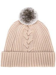 N.Peal Fur Bobble Cable Beanie Nude And Neutrals
