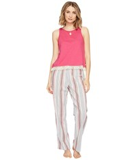 Lucky Brand Cotton Fringe Tee Jay Romantic Stripes Women's Pajama Sets Pink