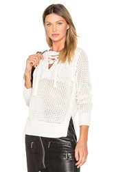 Derek Lam Lace Up V Neck Sweater Beige