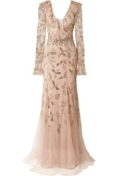 Monique Lhuillier Embellished Tulle Gown Cream