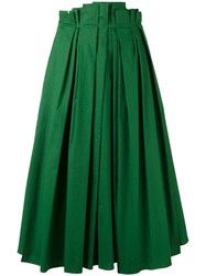 Rochas Full Pleated Midi Skirt Green