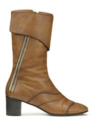 Chloe Lexie Leather Cuffed Mid Calf Boots Brown