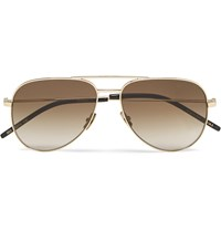 Saint Laurent Classic 11 Aviator Style Metal Sunglasses Gold