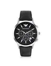 Emporio Armani Stainless Steel Chronograph Watch W Embossed Leather Strap Black