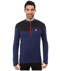 Asics Thermopolis 1 2 Zip Indigo Blue Performance Black Men's Long Sleeve Pullover