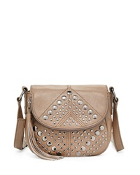 Isabella Fiore Bellmore Studded Leather Crossbody Bag Truffle