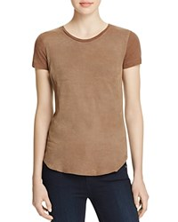 Majestic Filatures Perforated Leather Front Tee Grain De Cafe