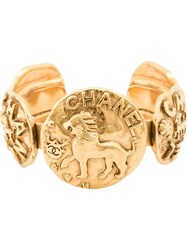 Chanel Vintage Lion Coin Cuff Yellow And Orange