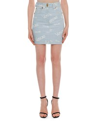 Versace High Rise Logo Print Knee Length Denim Skirt Light Blue