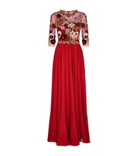 Jenny Packham Sheer Panel Sequin Gown Female Red