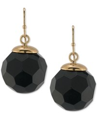 Trina Turk Gold Tone Jet Faceted Round Bead Drop Earrings
