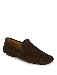 Bugatchi Textured Suede Penny Loafers Brown
