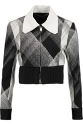 Roland Mouret Cero Cropped Printed Wool Blend Crepe Jacket Black