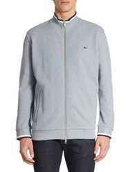 Lacoste Cotton Pique Fleece Zip Jacket Chineplatinumnavybluewhite Bluenavybluewhite