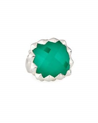Stephen Webster Superstud Square Synthetic Chrysoprase Doublet Ring Silver