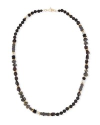 Akola Beaded Moonstone Necklace Black Red