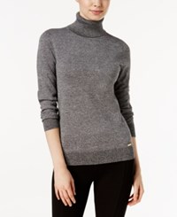 Calvin Klein Marled Turtleneck Sweater Black Winter White