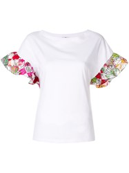 Ultrachic Contrast Ruffled Sleeves Top White