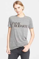 'J'aime Rodarte' Heathered Jersey Tee Grey Blk Writing