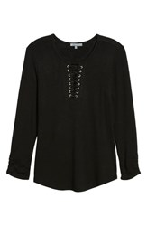 Wit And Wisdom Lace Up Top Black