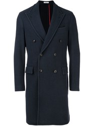 Boglioli Long Pea Coat Blue