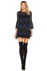 Cynthia Rowley Striped Lace Mini Dress Navy