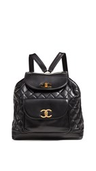 Wgaca What Goes Around Comes Around Chanel Leather Backpack Black