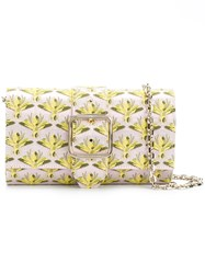 Casadei Fly Print Clutch Yellow And Orange