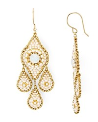 Miguel Ases Swarovski Crystal Chandelier Drop Earrings Beige Gold