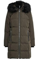 Donna Karan Woman Faux Fur Trimmed Quilted Shell Down Hooded Coat Army Green