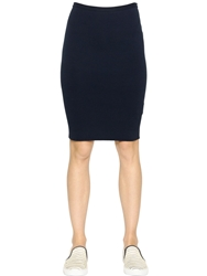 Gentryportofino Stretch Cotton Knit Pencil Skirt Navy