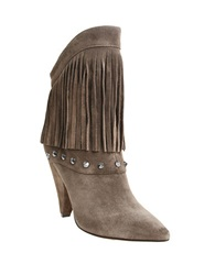 William Rast Yolanda Fringed Suede Boots Taupe