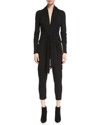 Urban Zen Long Sleeve Tie Front Jersey Jumpsuit Black