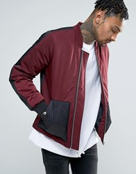 Asos Bomber Jacket With Quilted Panels In Burgundy Burgundy Red